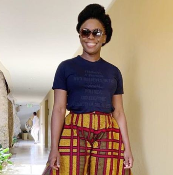 Nigerian Writer Chimamanda Ngozi Adichie steps out in unique pants made by Nigerian designer