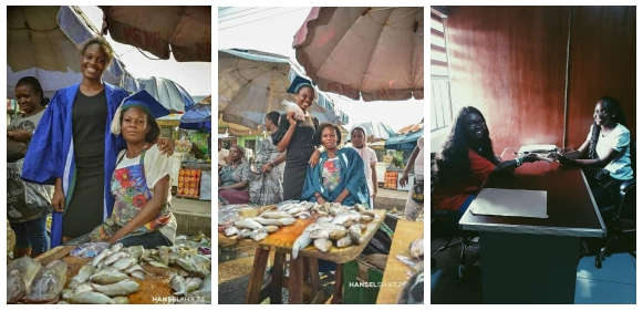 Lady celebrates her Matriculation at Mother's Fish Stand