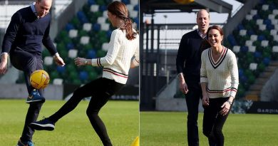 Kate Middleton takes part in football training in Belfast