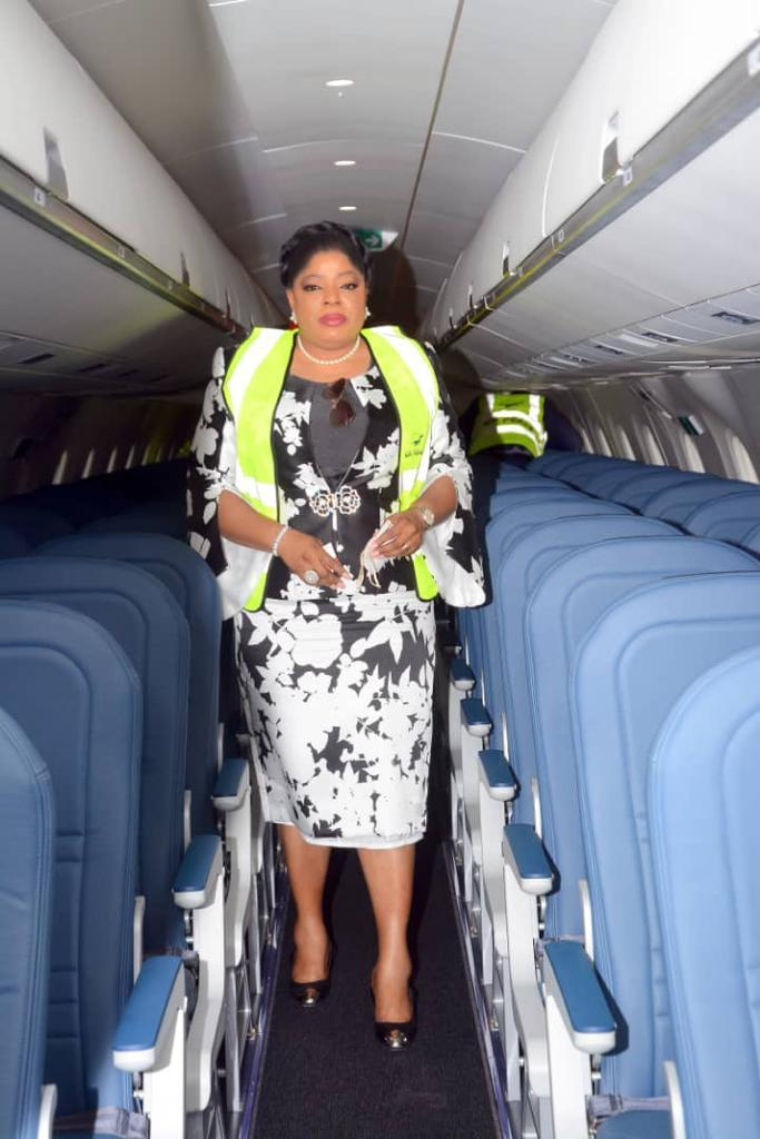MD/CEO, Fidelity Bank PLC. Mrs. Nneka Onyeali-Ikpe graces the Launching, Delivery of New Embraer Aircraft of Air Peace at the Nnamdi Azikiwe Airport